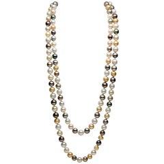 Yoko London Multicolored Baroque Pearl Rope Necklace