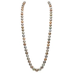 Yoko London Multicolored Tahitian Pearl Long Necklace in 18 Karat White Gold