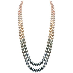 Yoko London Natural Color Mixed Pearl Necklace in 18 Karat Yellow Gold