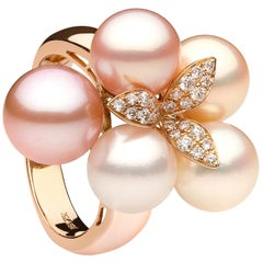Yoko London Ombré Floral Pink Freshwater Pearl and Diamond Ring in 18K Rose Gold