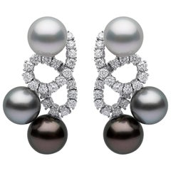 Yoko London Ombré Tahitian, South Sea Pearl & Diamond Earrings in 18 Karat Gold