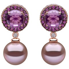Yoko London Pearl, Amethyst, Purple Sapphire and Diamond Earrings, 18 Karat Gold