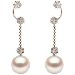 Yoko London Pearl and Diamond Chain Earrings in 18 Karat Rose Gold