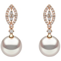 Yoko London Pearl and Diamond Earrings Set in 18 Karat Rose Gold