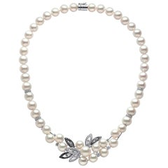 Yoko London Pearl and Diamond Floral Necklace in 18 Karat Black and White Gold