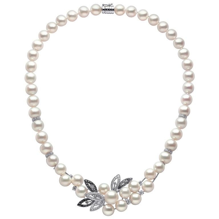 Yoko London Pearl and Diamond Floral Necklace in 18 Karat Black and White Gold For Sale