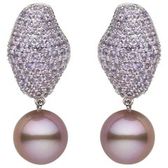 Yoko London Pearl and Pink Sapphire Drop Earrings in 18 Karat White Gold