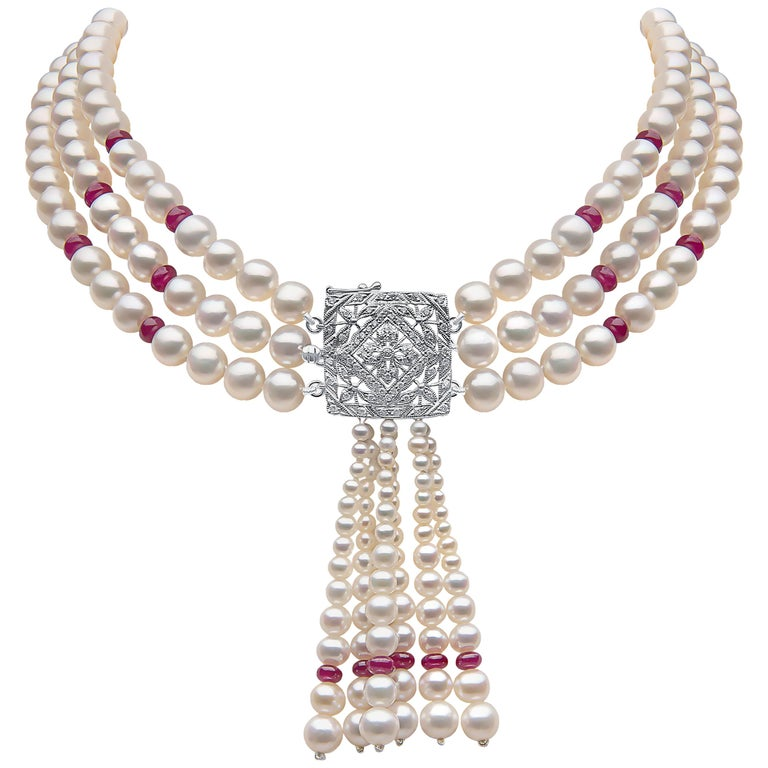 Yoko London Pearl and Ruby Three-Row Tassel Choker set in 18 Karat White Gold For Sale