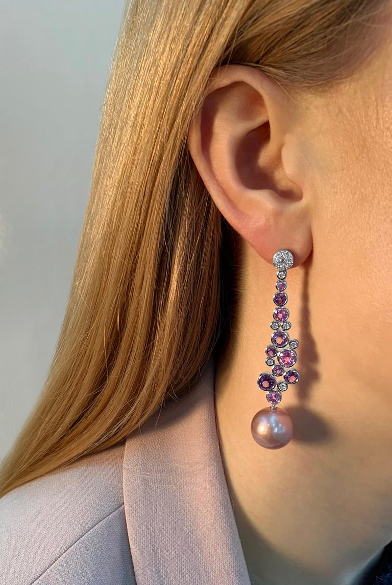 Contemporary Yoko London Pearl, Diamond, Amethyst and Pink Sapphire Earrings, 18 Karat Gold For Sale