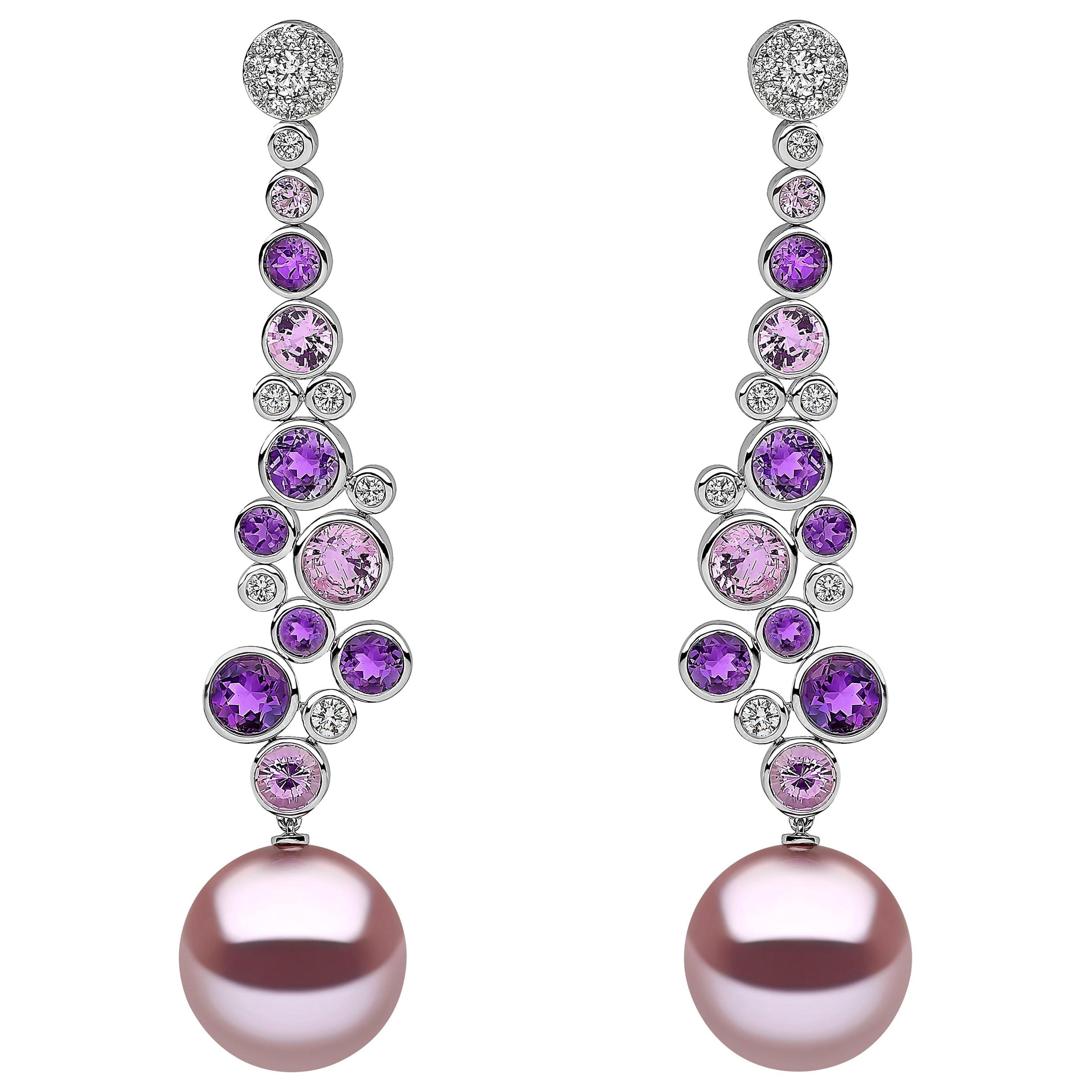 Yoko London Pearl, Diamond, Amethyst and Pink Sapphire Earrings in 18 Karat Gold