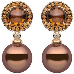 Yoko London Chocolate Pearl, Diamond, Sapphire & Quartz Earrings in 18K Gold