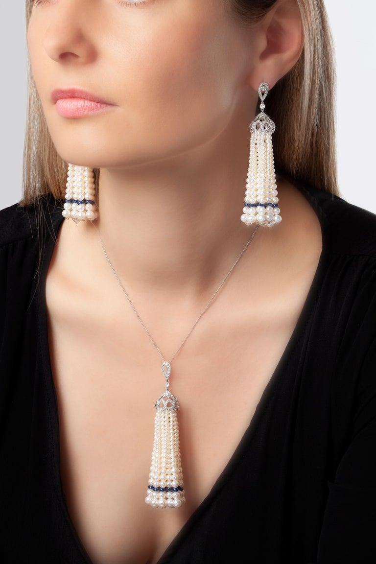 Contemporary Yoko London Pearl, Sapphire and Diamond Tassel Earrings in 18 Karat White Gold For Sale
