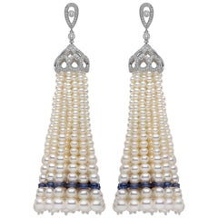 Yoko London Pearl, Sapphire and Diamond Tassel Earrings in 18 Karat White Gold