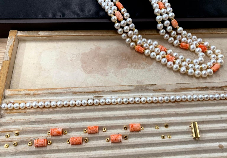 Yoko London Pearls Freshwater Pearl and Coral Necklace in 18 Karat Yellow Gold In New Condition For Sale In London, GB