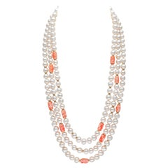 Yoko London Pearls Freshwater Pearl and Coral Necklace in 18 Karat Yellow Gold