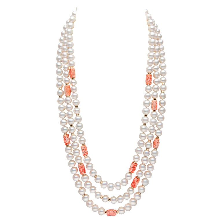 Yoko London Pearls Freshwater Pearl and Coral Necklace in 18 Karat Yellow Gold For Sale