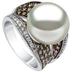 Yoko London Pearls South Sea Pearl and Diamond Ring in 18 Carat White Gold