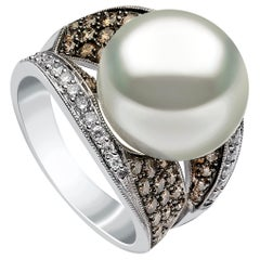 Yoko London Pearls South Sea Pearl and Diamond Ring in 18 Carat White Gold
