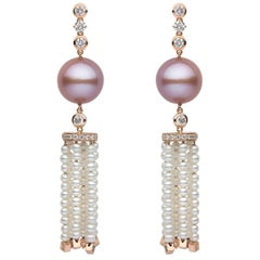 Yoko London Pink and White Pearl and Diamond Tassel Earrings in 18K Rose Gold
