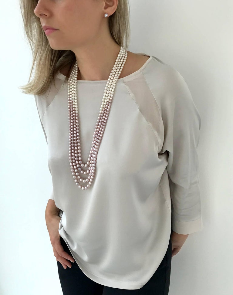Round Cut Yoko London Pink and White Pearl Multi-Row Long Necklace Set in 18 Karat Gold For Sale