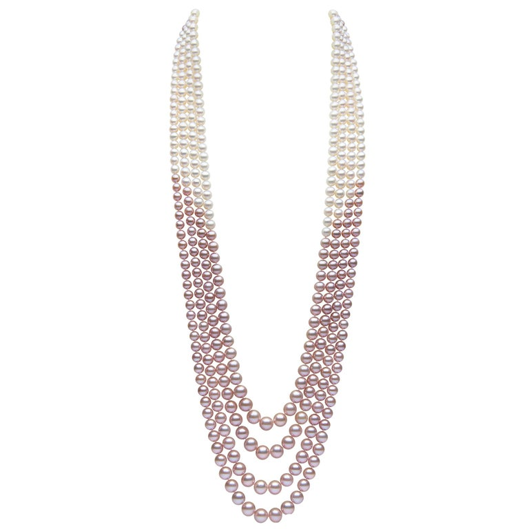 Yoko London Pink and White Pearl Multi-Row Long Necklace Set in 18 Karat Gold For Sale
