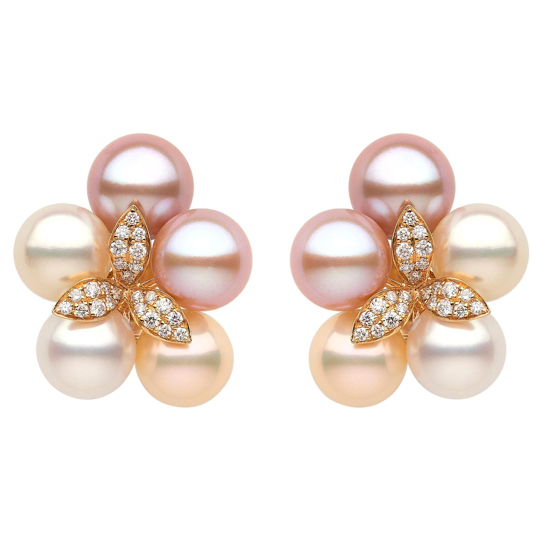 Yoko London Pink Freshwater, Akoya Pearl and Diamond Earrings 18 Karat Rose Gold