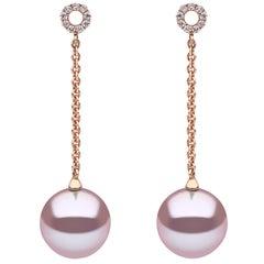 Yoko London Pink Freshwater Pearl and Diamond Earrings in 18 Karat Rose Gold