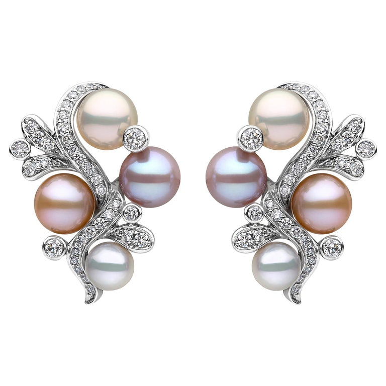These exquisite pearl earrings by Yoko London feature lustrous pink Freshwater pearls, scattered amongst 0.996cts of diamonds. These unique earrings will add a pop of colour and a touch of elegance to any outfit. The colour of the pearls featured in