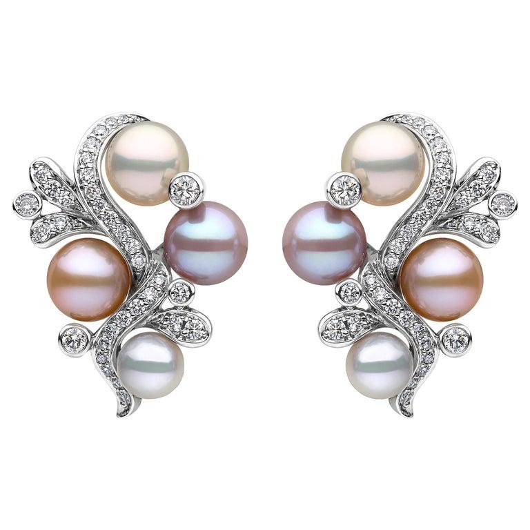 Yoko London Pink Freshwater Pearl and Diamond Earrings in 18 Karat White Gold For Sale
