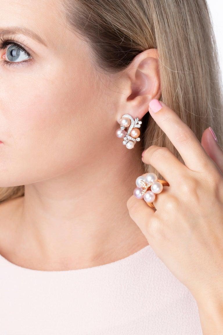 Modern Yoko London Pink Freshwater Pearl and Diamond Earrings in 18 Karat White Gold For Sale
