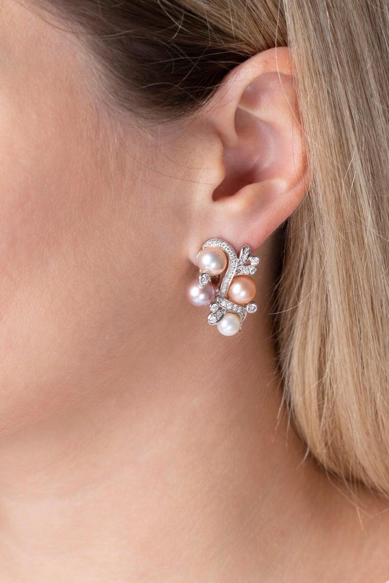 Round Cut Yoko London Pink Freshwater Pearl and Diamond Earrings in 18 Karat White Gold For Sale
