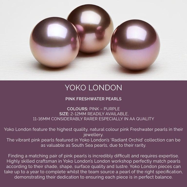 Yoko London Pink Freshwater Pearl and Diamond Earrings in 18 Karat White Gold For Sale 1