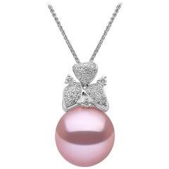 Yoko London Pink Freshwater Pearl and Diamond Pendant in 18 Karat White Gold