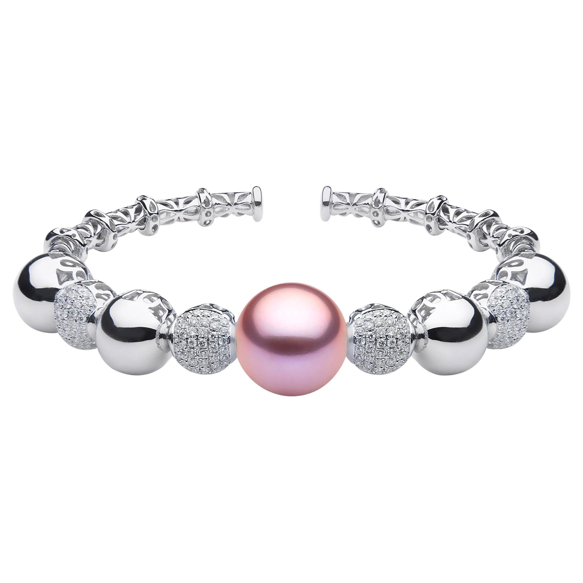 Yoko London Pink Pearl and Diamond Bangle in 18 Karat White Gold