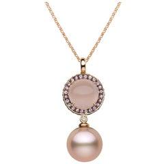 Yoko London Pink Pearl, Sapphire Diamond & Rose Quartz Pendant in 18K Rose Gold