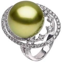 Yoko London Pistachio-Colored Tahitian Pearl and Diamond Ring in 18K White Gold