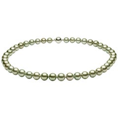 Yoko London Pistachio Colored Tahitian Pearl Classic Necklace on 18 Karat Gold