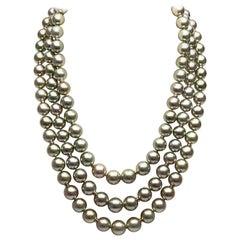 Dreireihige pistazienfarbige Kette mit tahitianischen Perlen von Yoko London
