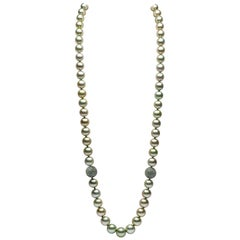 Yoko London Pistachio-Colored Tahitian Pearl and Sapphire Necklace 18 Karat Gold