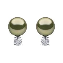 Yoko London Pistachio Tahitian Pearl and Diamond Earrings in 18 Karat White Gold