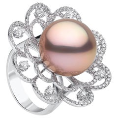Yoko London Radiant Orchid Pink Pearl and Diamond Ring in 18 Karat White Gold
