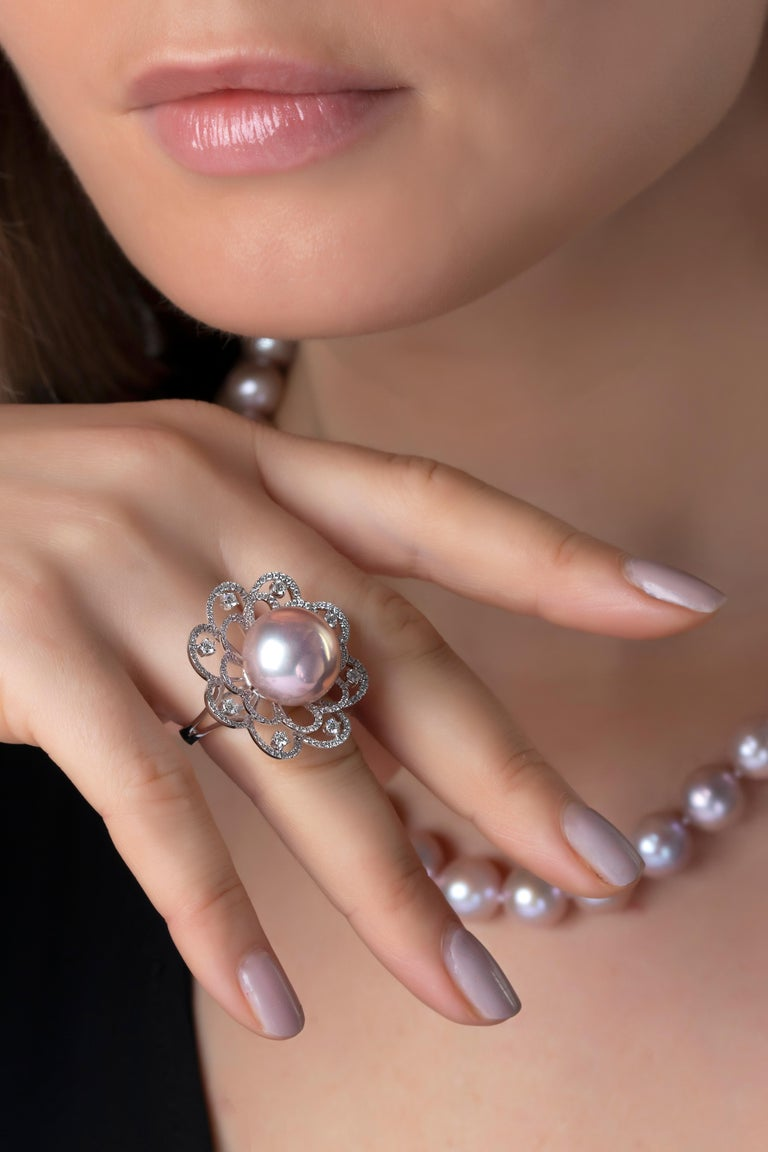 Contemporary Yoko London Radiant Orchid Pink Pearl and Diamond Ring in 18 Karat White Gold For Sale