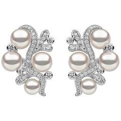 Yoko London Raindrop Akoya Pearl and Diamond Earrings in 18 Karat White Gold