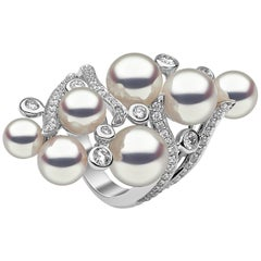 Yoko London Raindrop Collection Akoya Pearl and Diamond Ring in 18 Karat Gold