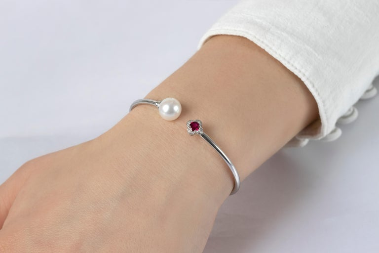 Contemporary Yoko London Ruby, Pearl and Diamond Bangle Bracelet in 18 Karat White Gold For Sale