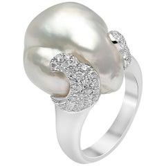 Yoko London South Sea Baroque Pearl and Diamond Ring Set in 18 Karat White Gold