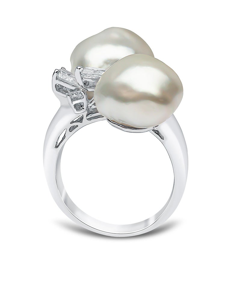 Contemporary Yoko London South Sea Keshi Pearl and Diamond Ring in 18 Karat White Gold For Sale