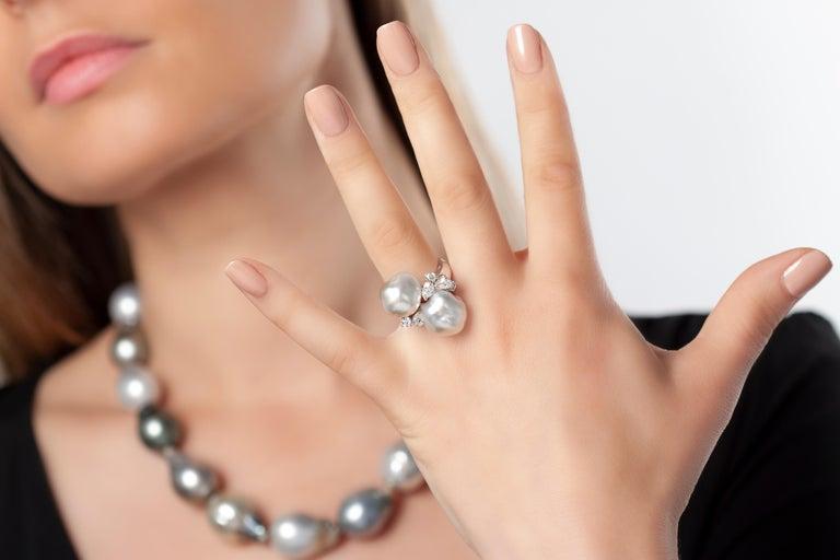 Round Cut Yoko London South Sea Keshi Pearl and Diamond Ring in 18 Karat White Gold For Sale