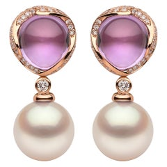 Yoko London South Sea Pearl, Amethyst and Diamond Earrings in 18 Karat Rose Gold