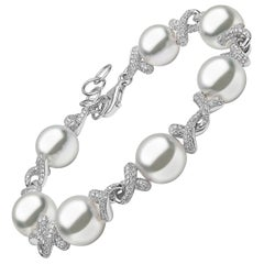 Yoko London South Sea Pearl and Diamond Bracelet in 18 Karat White Gold